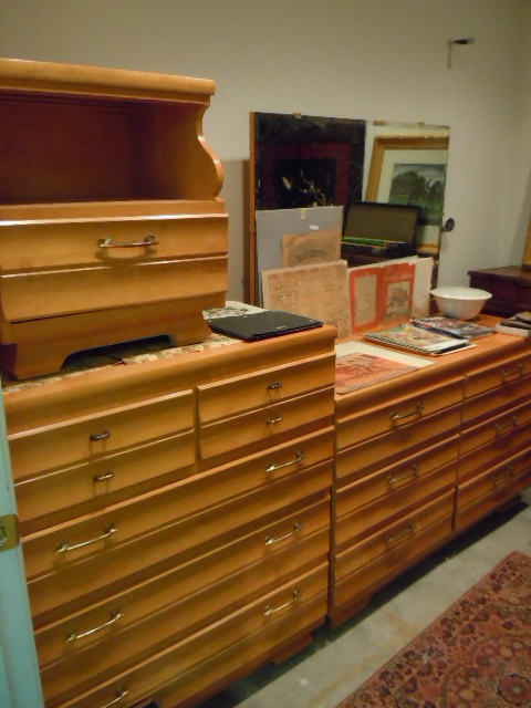 Mid Century Modern Maple Bedroom Set By Kling Furniture. Dresser With  Mirror, Chest Of Drawers, Nightstand And Headboard. Price: $345.